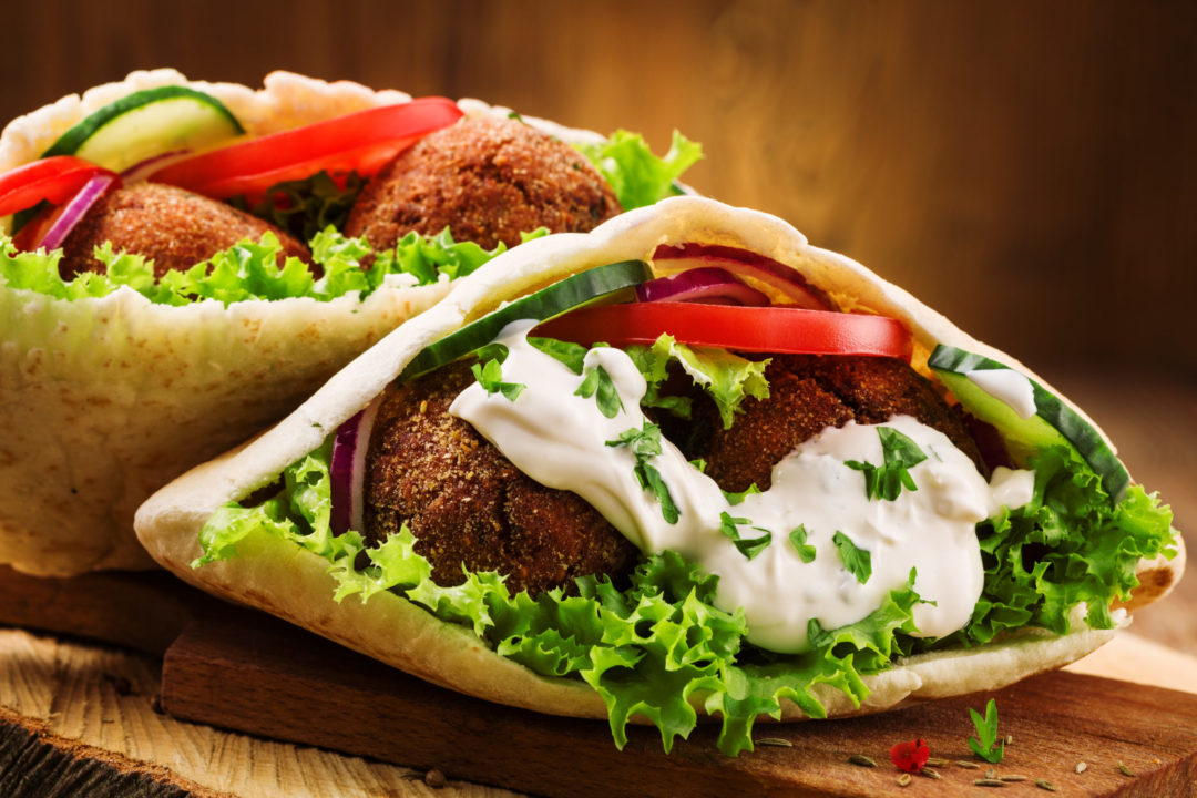 BAKED CHICKPEA & PEA FALAFEL with PITA
