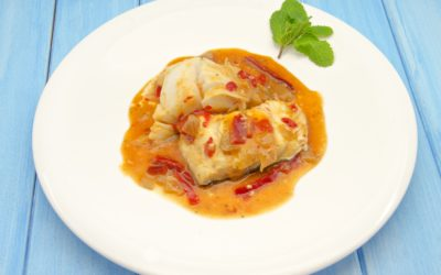 BAKED HALIBUT with ONIONS & TOMATO