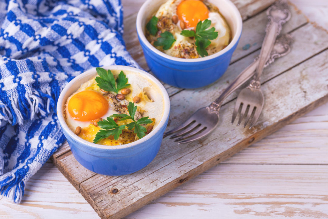 BAKED EGGS with SMOKED TROUT & SPINACH